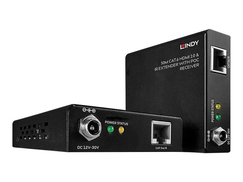 LINDY 50m Cat.6 HDMI 2.0 18G & IR Extender with PoC - Video-/Audio-/Infrarot-Übertrager - HDMI, infrarot - bis zu 50 m