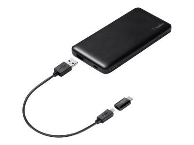 Belkin Pocket Power - Powerbank - 5000 mAh - 2.4 A (USB) - auf Kabel: Micro-USB - Schwarz