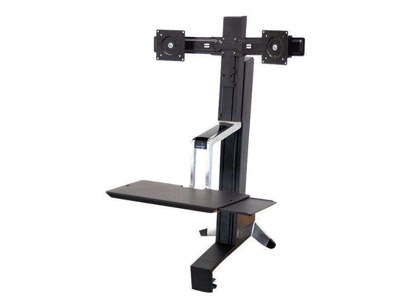 Ergotron WorkFit-S Dual Monitor Standing Desk Workstation - Befestigungskit (Spannbefestigung für Tisch, Spalte, 2 Drehgelenke,