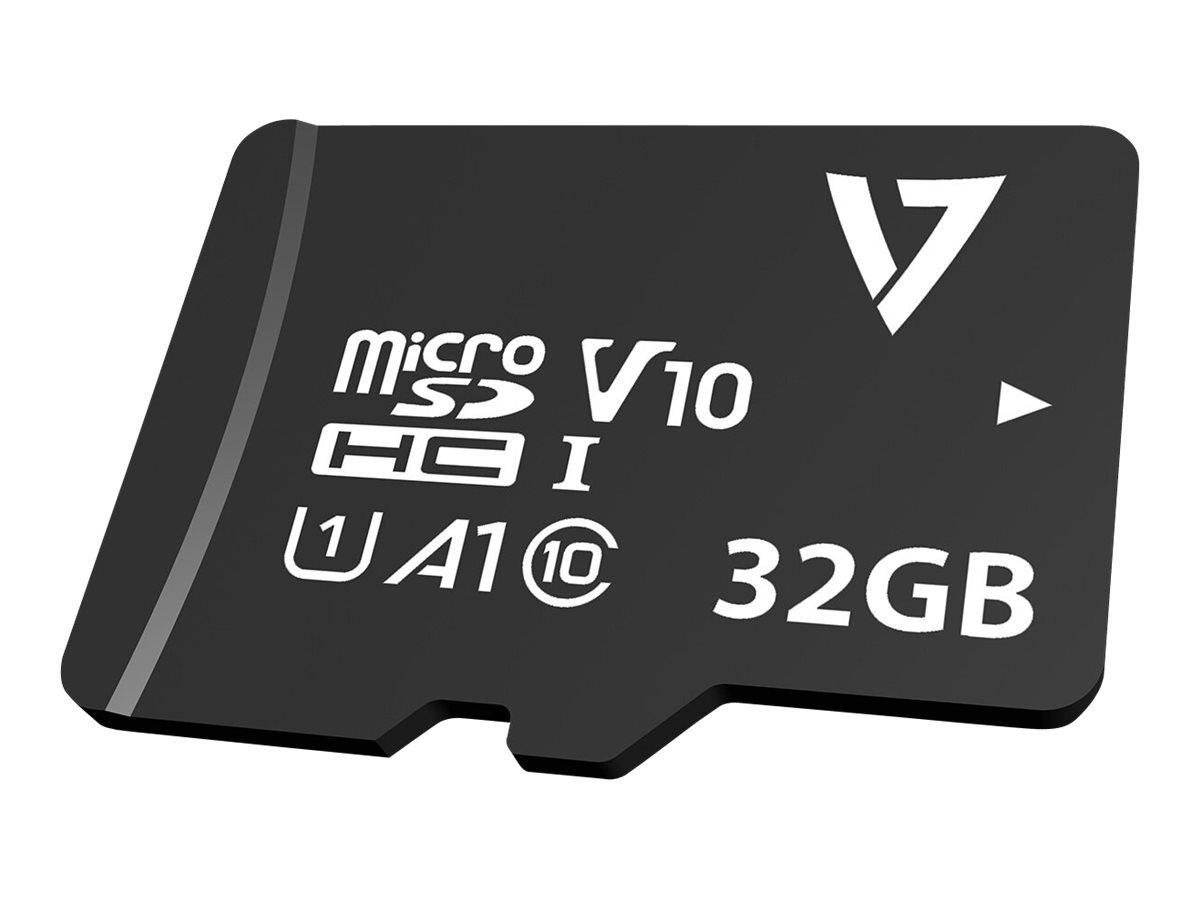 V7 VPMSDH32GU1 - Flash-Speicherkarte (microSDHC/SD-Adapter inbegriffen) - 32 GB - A1 / Video Class V10 / UHS-I U1 / Class10 - mi