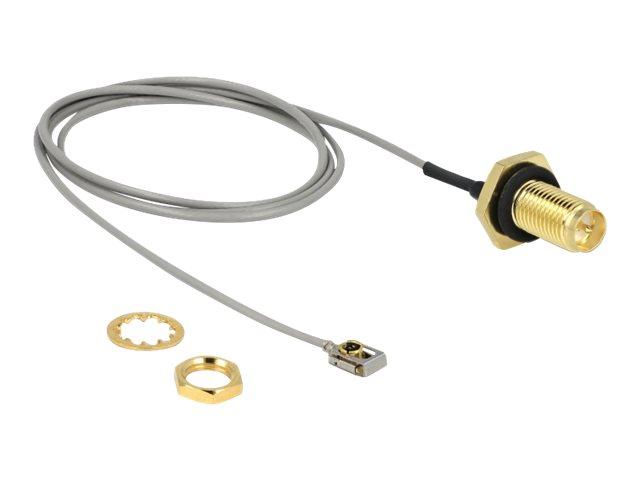 DeLOCK - Antennenkabel - RP-SMA (W) Bulkhead bis MHF I LK (M) - 50 cm - Koax - Grau, Schwarz