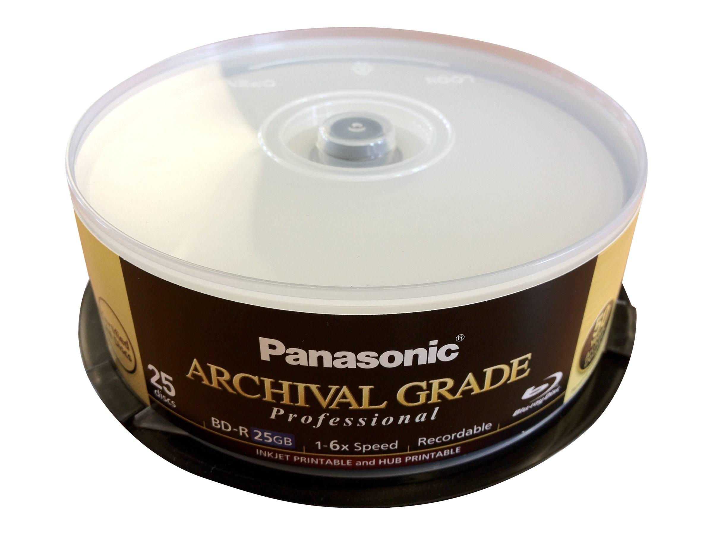 Panasonic ARCHIVAL GRADE Professional - 25 x BD-R - 25 GB 6x - mit Tintenstrahldrucker bedruckbare Oberfläche, Bedruckbarer Inne