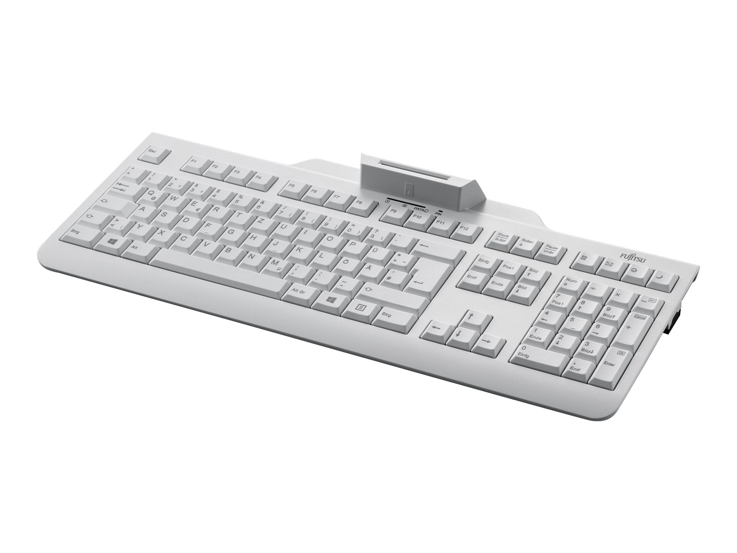 Fujitsu KB 100 SCR - Tastatur - USB - Nordisch - Grau - für Celsius M7010, M770, R970; ESPRIMO P558/E94, P758/E94, Q958; FUTRO S