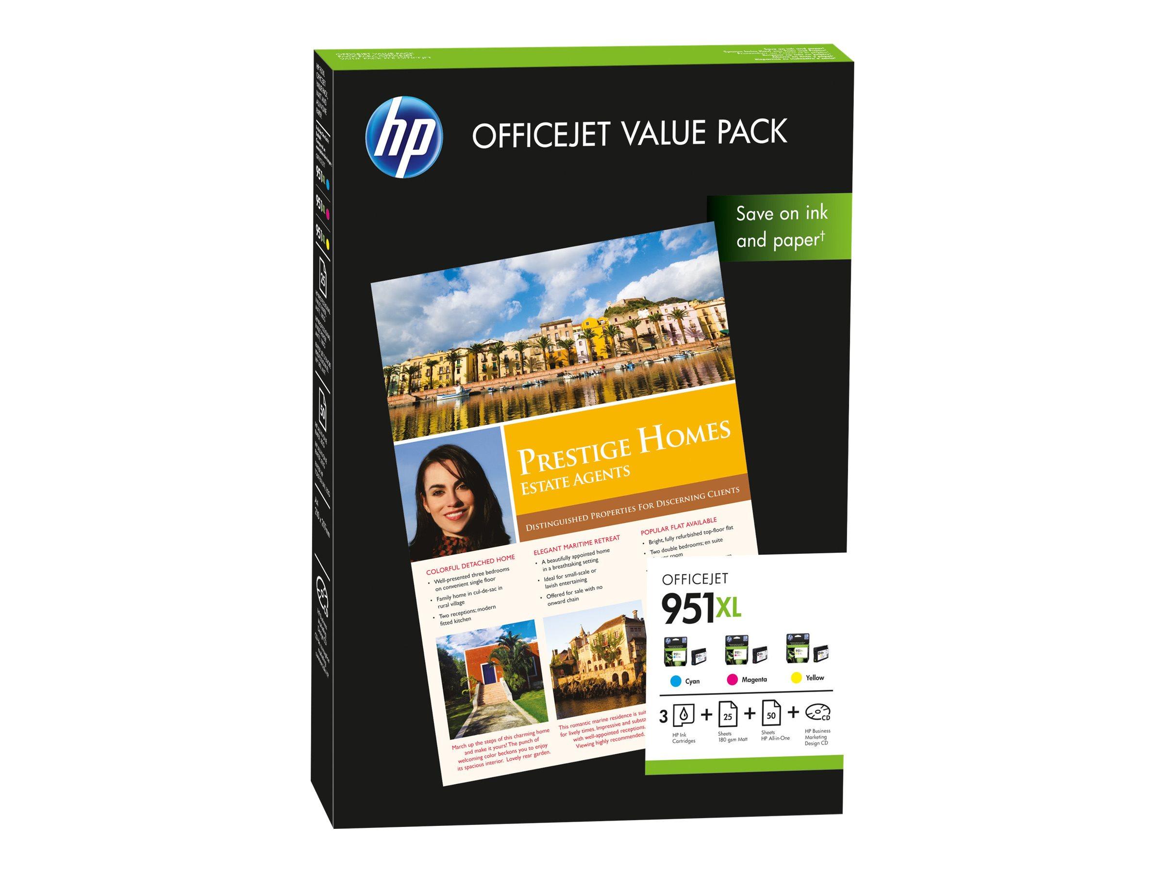 HP 951XL Value Pack - Gelb, Cyan, Magenta - Original - Officejet - Tintenpatrone / Papierkit - für Officejet Pro 251dw, 276dw, 8