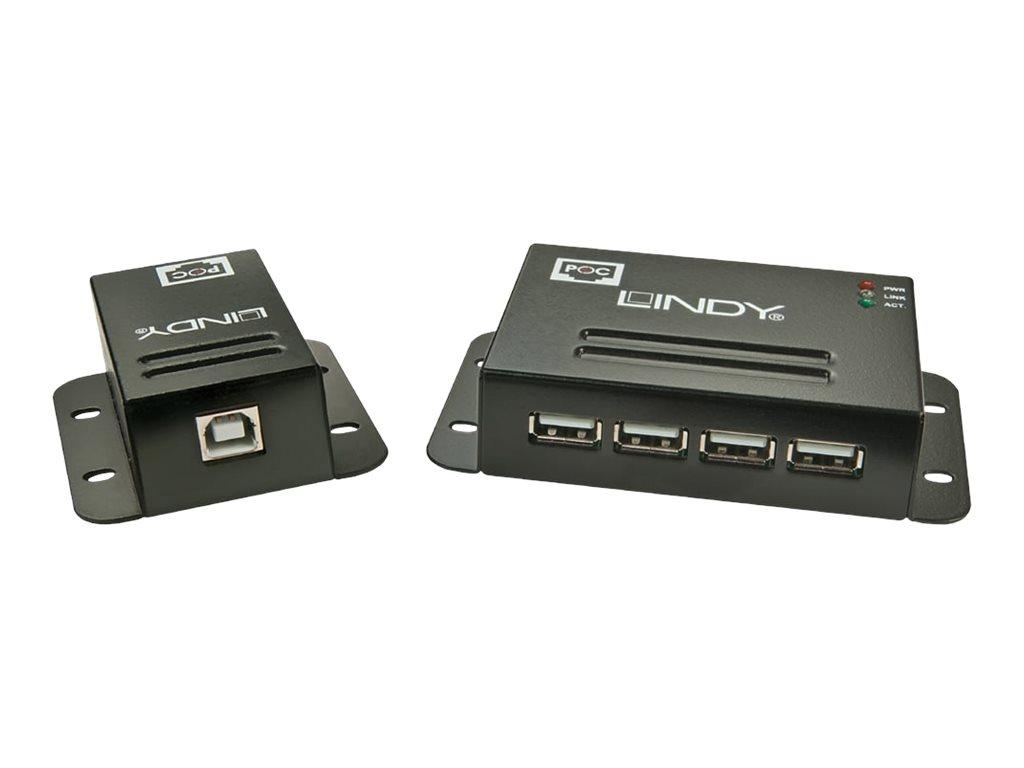 LINDY USB 2.0 4 Port CAT.5/6 Extender With Power Over CAT.5/6 - USB-Erweiterung - USB 2.0 - 4 Anschlüsse - bis zu 50 m