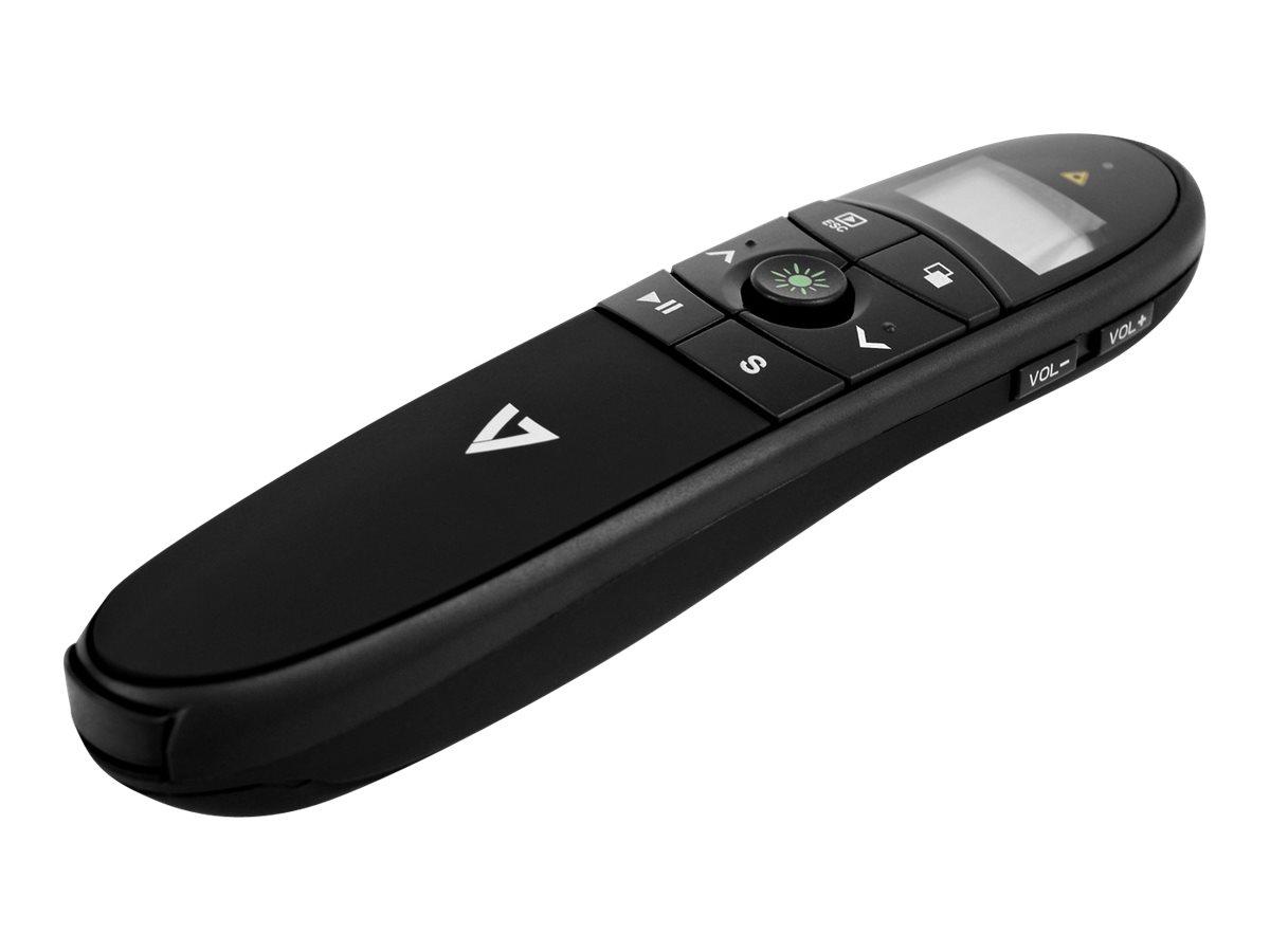 V7 Professional Wireless Green Laser Presenter WP2000G-1E - Präsentations-Fernsteuerung - HF - Schwarz