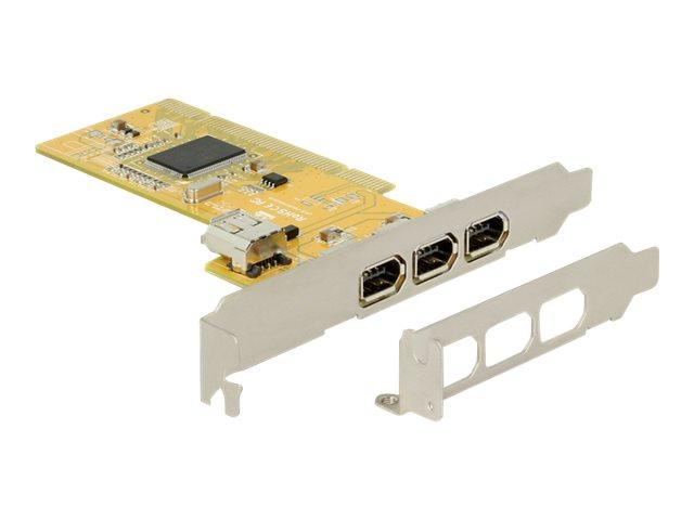 DeLOCK PCI Card > 3 x external + 1 x internal FireWire A - FireWire-Adapter - PCI Low-Profile - FireWire x 3 + FireWire (intern)
