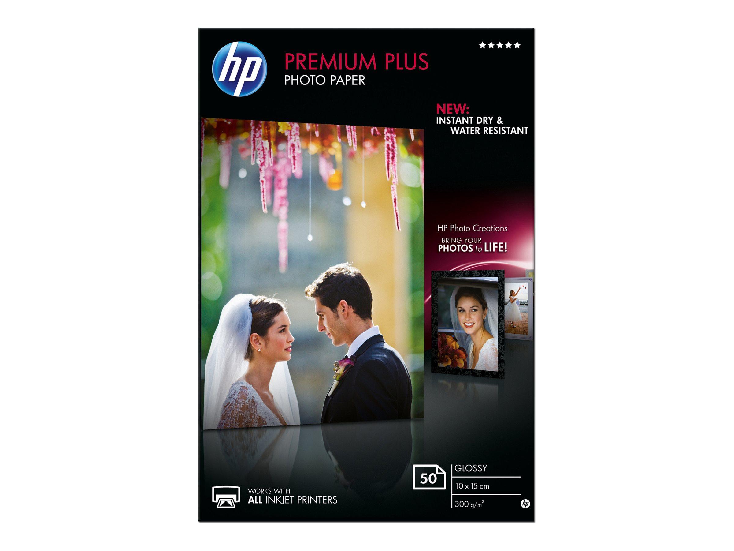 HP Premium Plus Photo Paper - Glänzend - 100 x 150 mm - 300 g/m² - 50 Blatt Fotopapier - für Envy 50XX, 7645; Officejet 52XX; Pa