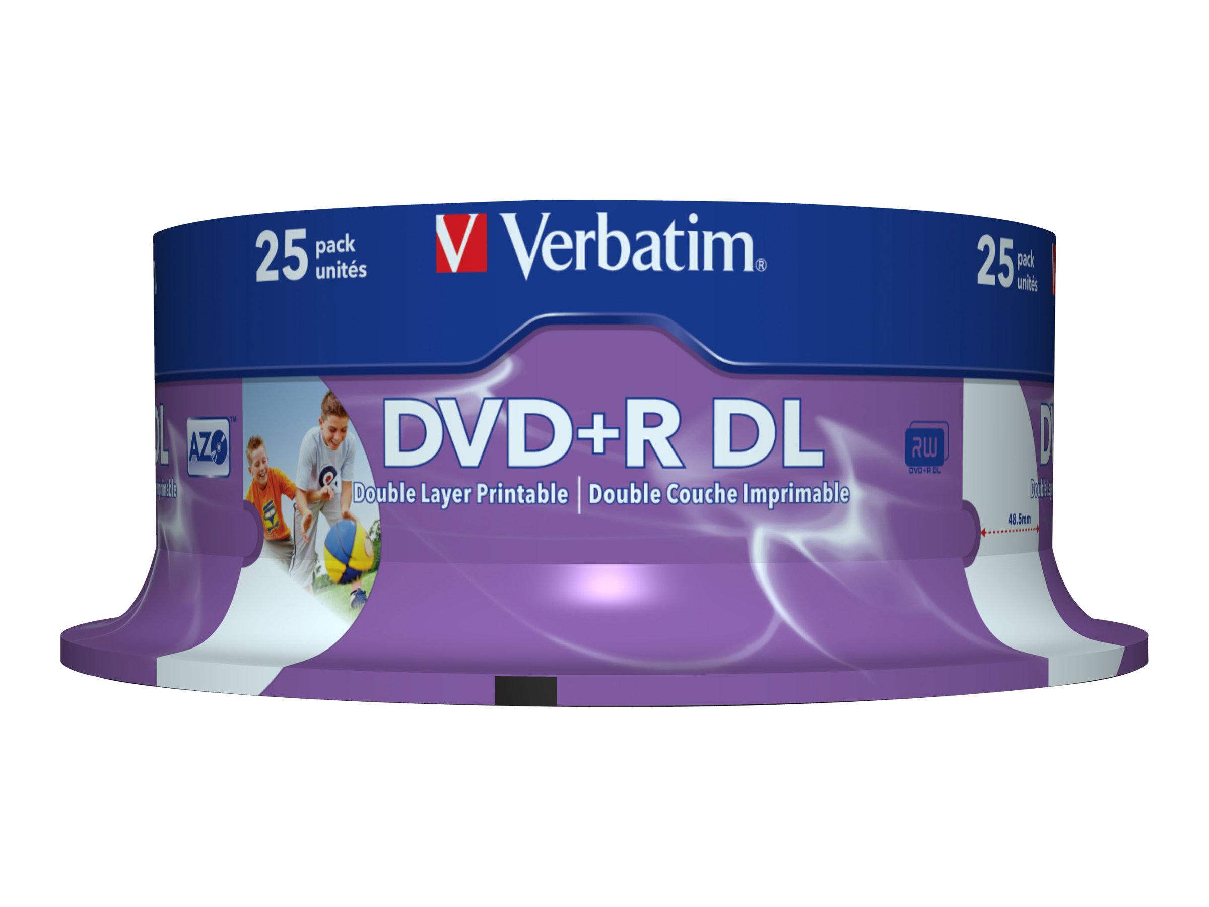 Verbatim - 25 x DVD+R DL - 8.5 GB 8x - breite bedruckbare Oberfläche - Spindel