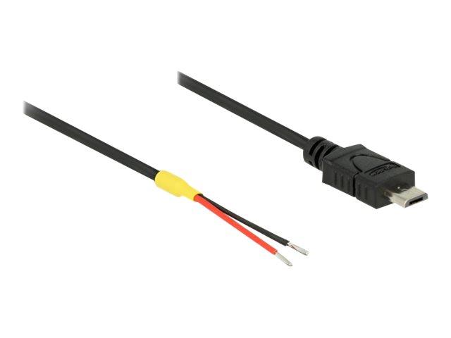 Delock - Stromkabel - Mikro-USB Typ B (nur Strom) (M) bis ohne Stecker - 20 cm - Schwarz