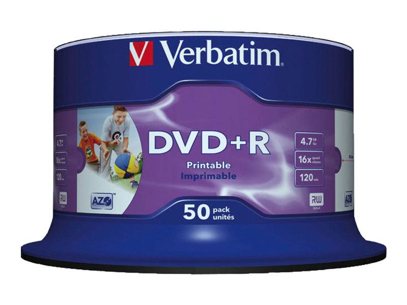 Verbatim - 50 x DVD+R - 4.7 GB 16x - Bedruckbarer Innenring, in Fotoqualität bedruckbare Oberfläche - Spindel