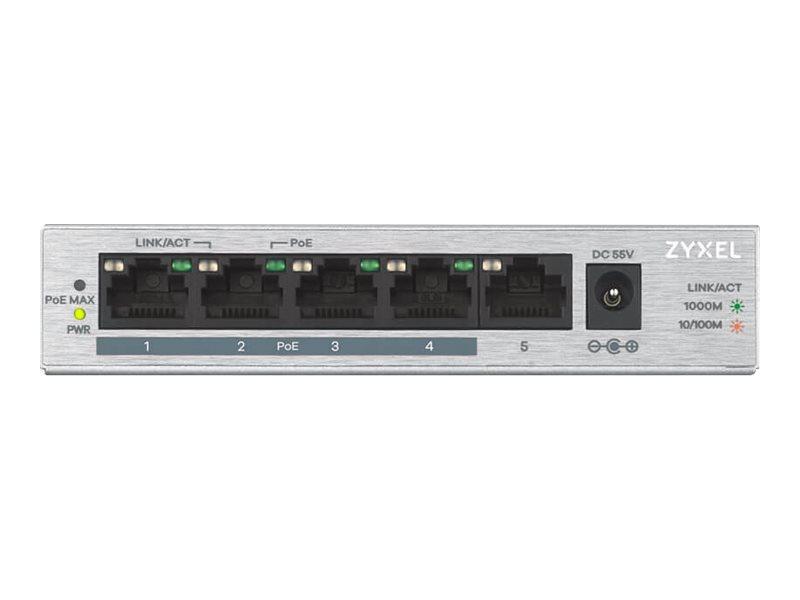 Zyxel GS1005HP - Switch - nicht verwaltet - 4 x 10/100/1000 (PoE+) + 1 x 10/100/1000 - Desktop, wandmontierbar - PoE (60 W)