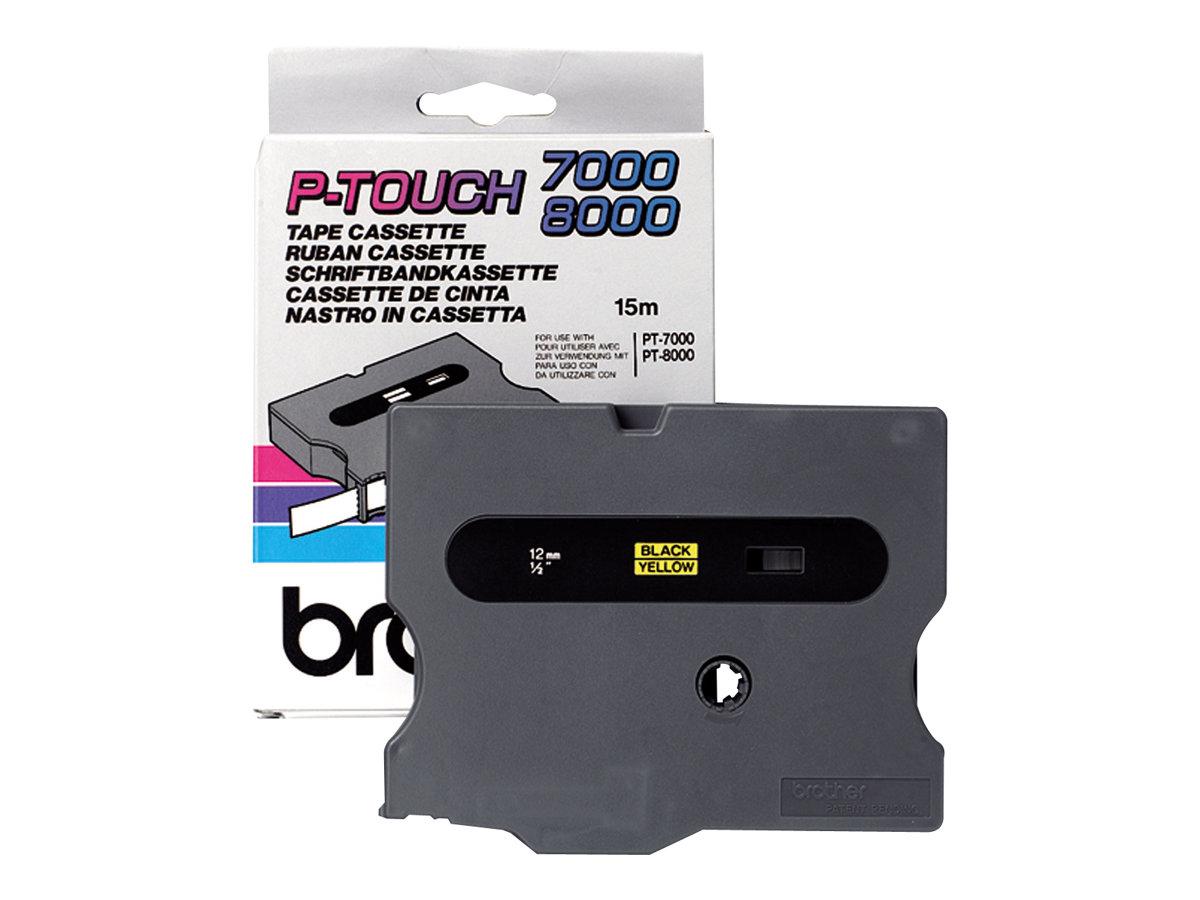 Brother TX631 - Schwarz auf Gelb - Rolle (1,2 cm x 15 m) 1 Rolle(n) laminiertes Band - für P-Touch PT-30, PT-7000, PT-8000, PT-P