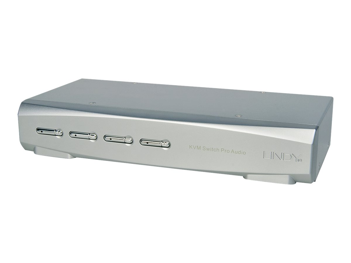 Lindy KVM Switch Pro DisplayPort USB 2.0 Audio - KVM-/Audio-/USB-Switch - 4 x KVM/Audio/USB - 1 lokaler Benutzer - Desktop