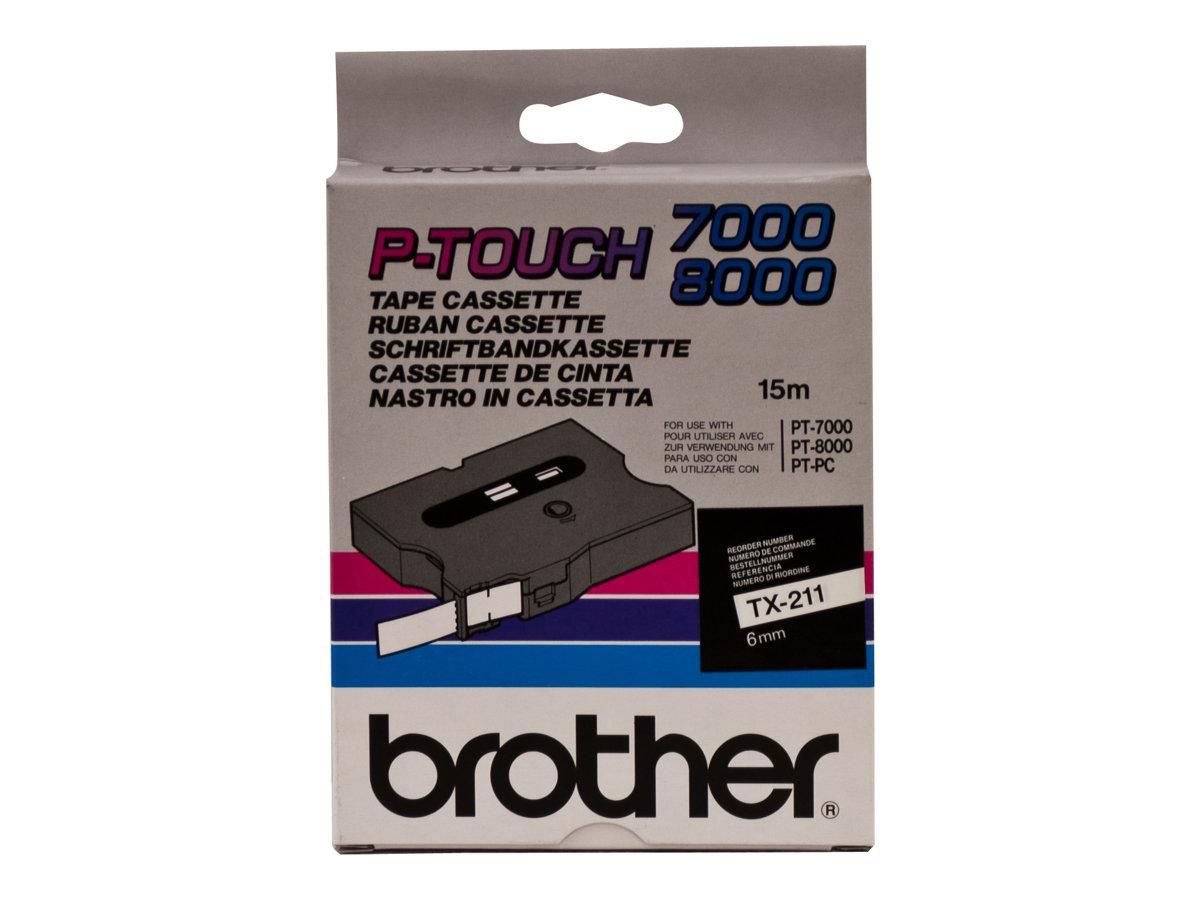 Brother TX211 - Schwarz auf Weiss - Rolle (0,6 cm x 15 m) 1 Rolle(n) laminiertes Band - für P-Touch PT-7000, PT-8000, PT-PC