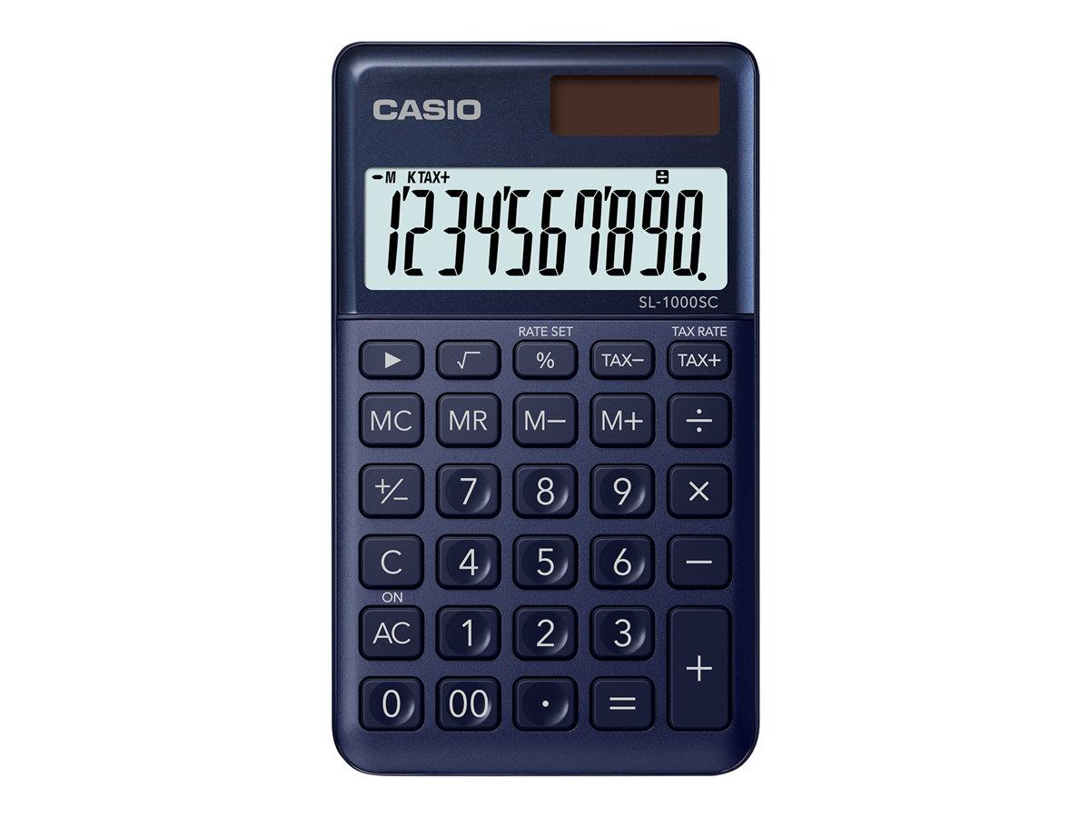 Casio SL-1000SC - Taschenrechner - 10 Stellen - Solarpanel, Batterie - marineblau