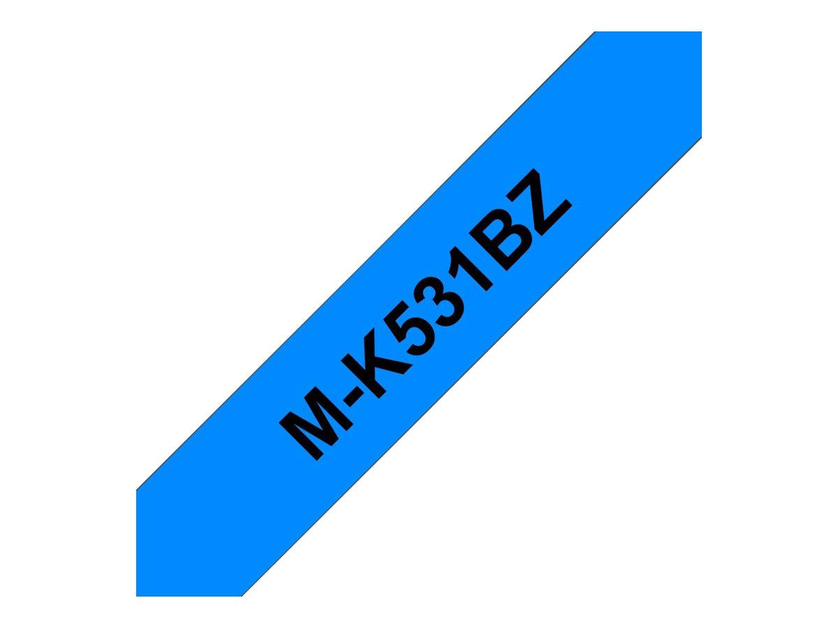 Brother MK531BZ - Schwarz auf Blau - Rolle (1,2 cm x 8 m) 1 Rolle(n) nicht-laminiertes Schriftband - für P-Touch PT-55, PT-65, P