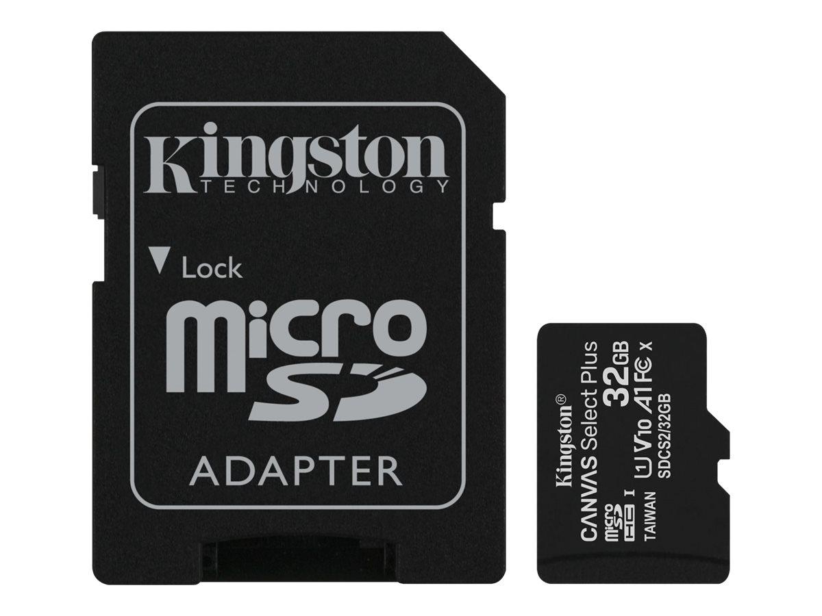 Kingston Canvas Select Plus - Flash-Speicherkarte (microSDHC/SD-Adapter inbegriffen) - 32 GB - A1 / Video Class V10 / UHS Class