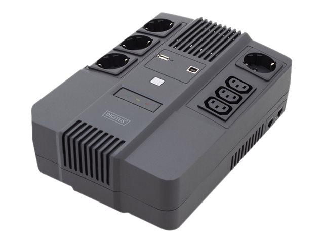 DIGITUS All-in-One UPS - USV - Wechselstrom 220-240 V - 480 Watt - 800 VA 9 Ah - USB