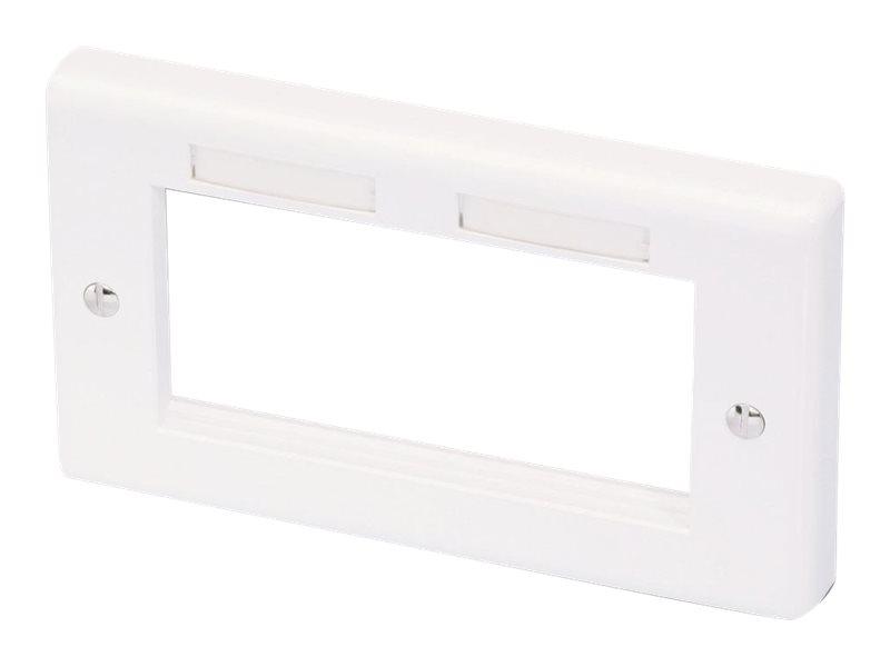 LINDY Modular AV Face Plate System Double Gang Snap In Face Plate - Frontabdeckung - weiss - Abdeckung mit zwei Aussparungen