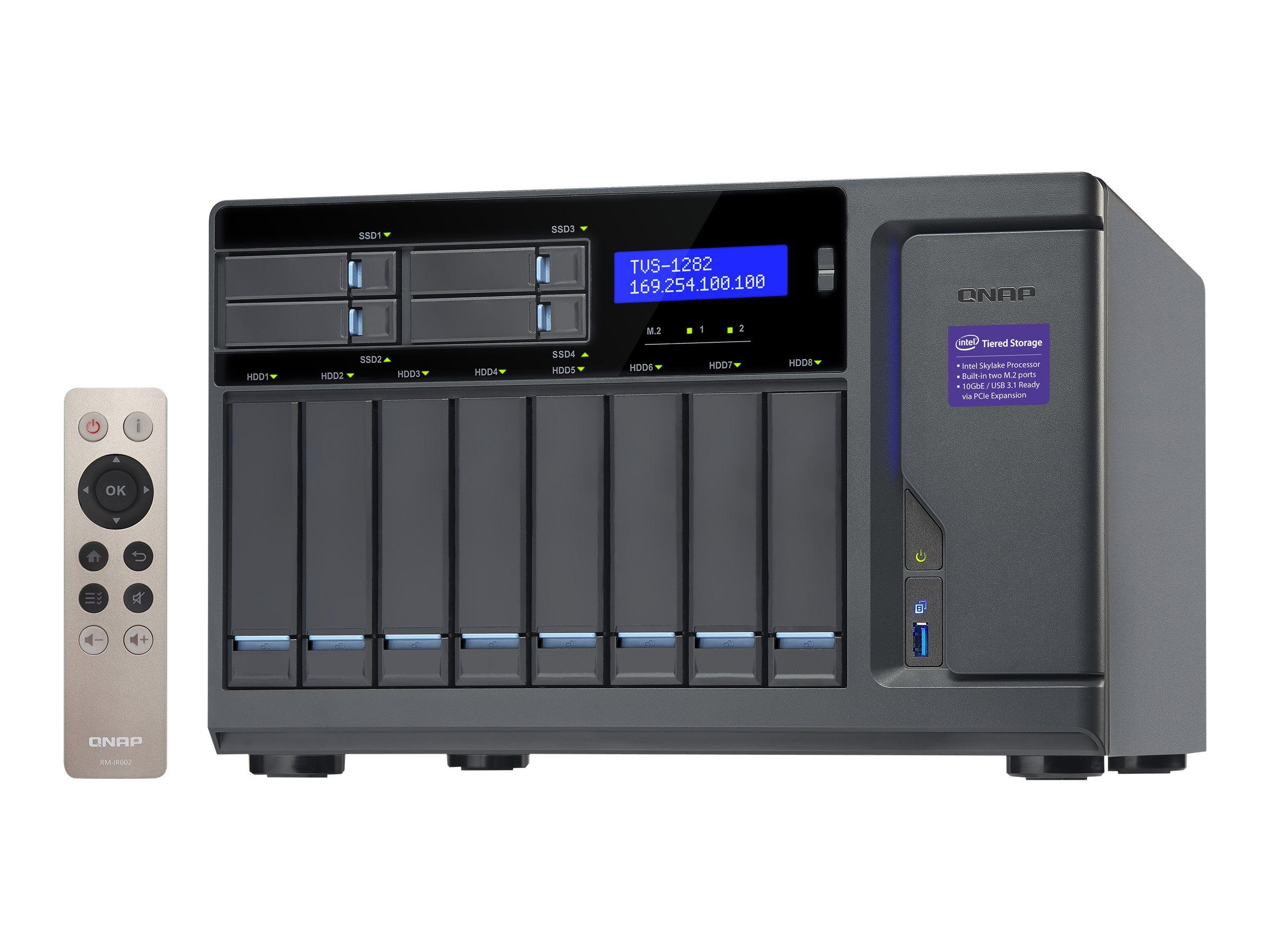 QNAP TVS-1282 - NAS-Server - 8 Schächte - SATA 6Gb/s - RAID 0, 1, 5, 6, 10, JBOD - RAM 32 GB