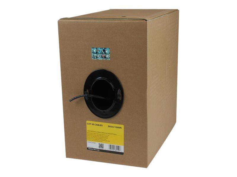 StarTech.com 1000 ft Bulk Roll of Black CMR Cat5e Solid UTP Riser Cable - Cat 5e Riser Cable - Cat.5e CMR Ethernet Cable - 24 AW