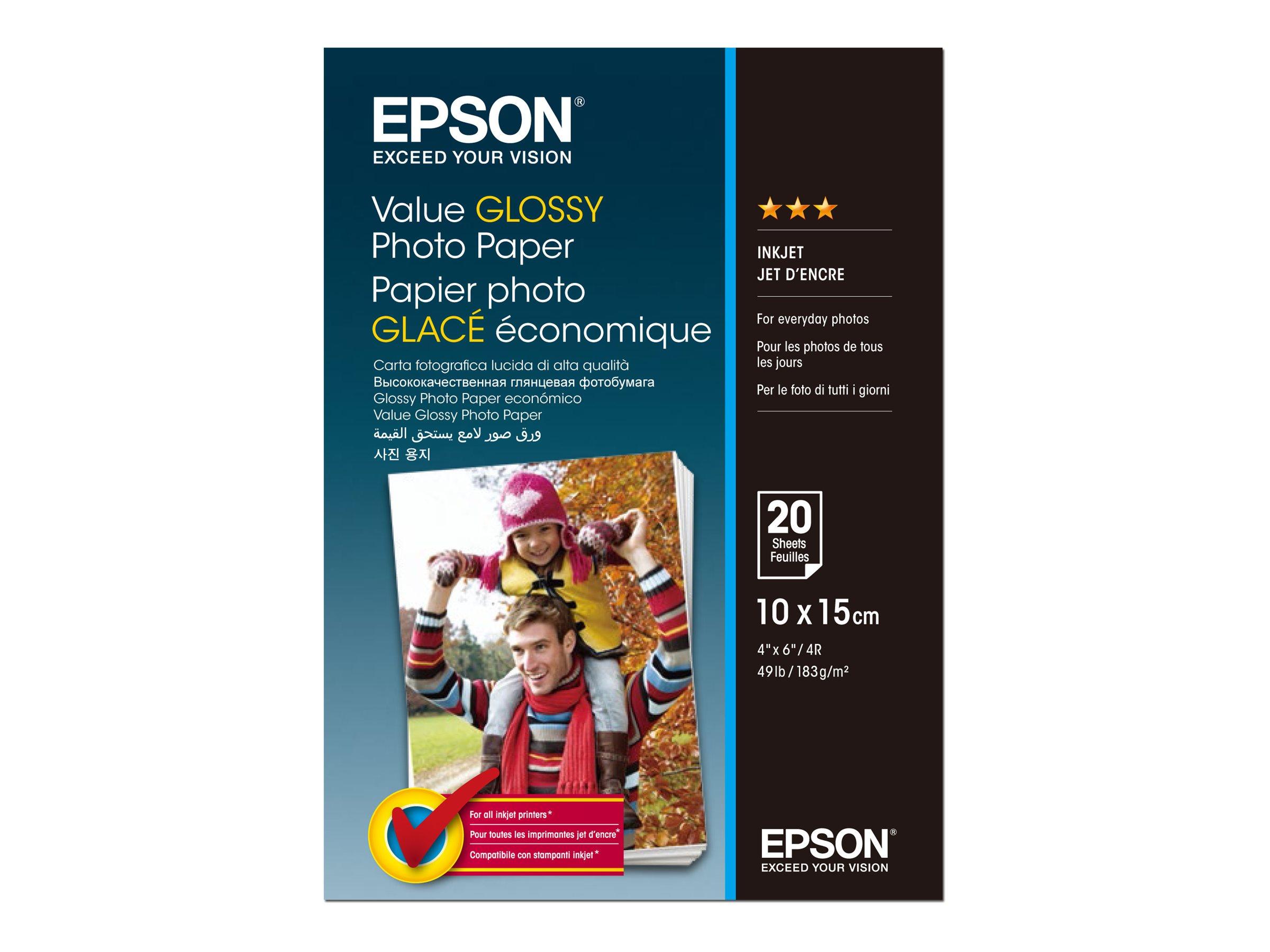 Epson Value - Glänzend - 100 x 150 mm - 183 g/m² - 20 Blatt Fotopapier - für Epson L382, L386, L486; Expression Home HD XP-15000