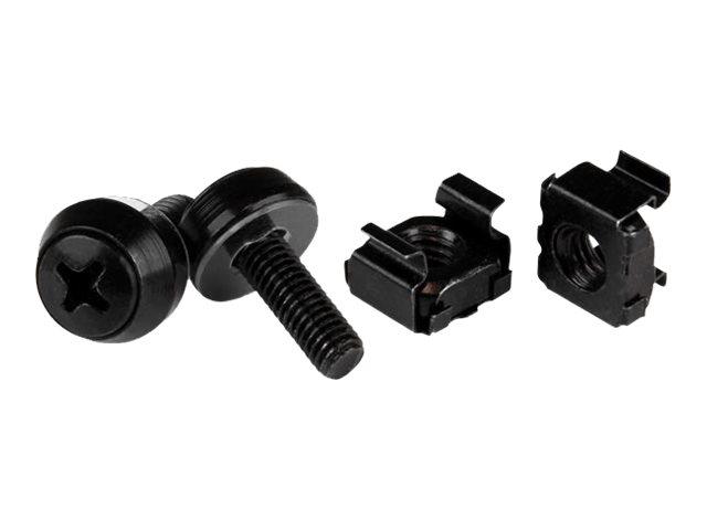 StarTech.com M5 x 12mm - Schrauben und Käfigmuttern - 50er Pack - Schwarz - M5 Montageschrauben und Kastenmuttern für Server Rac