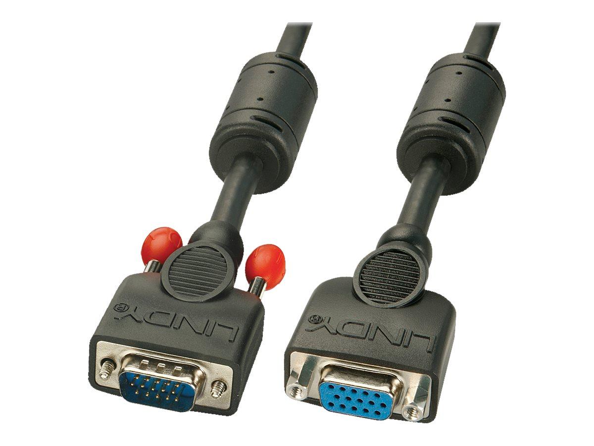Lindy - VGA-Verlängerungskabel - HD-15 (VGA) (W) bis HD-15 (VGA) (M) - 2 m - geformt, Daumenschrauben - Schwarz