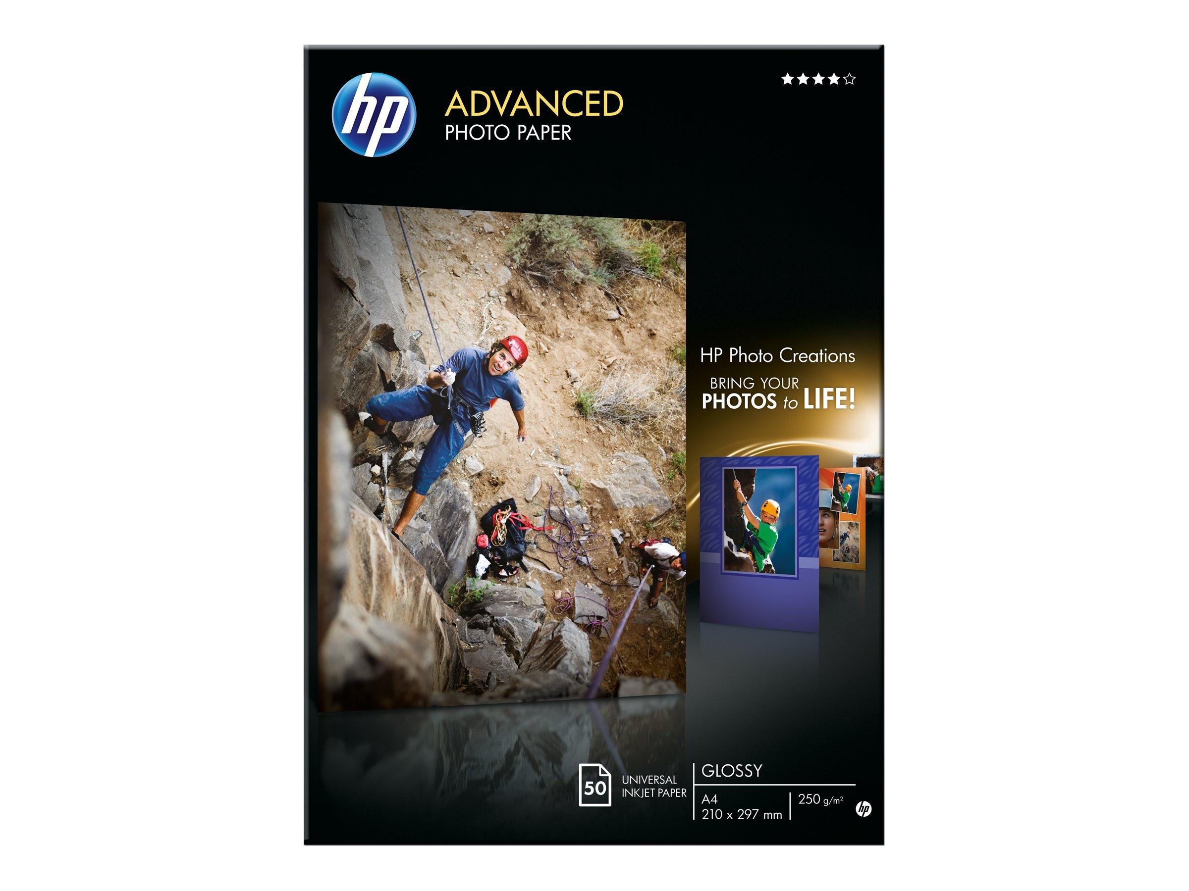 HP Advanced Glossy Photo Paper - Glänzend - A4 (210 x 297 mm) 50 Blatt Fotopapier - für Deskjet 2622; Envy 50XX, 76XX; Officejet