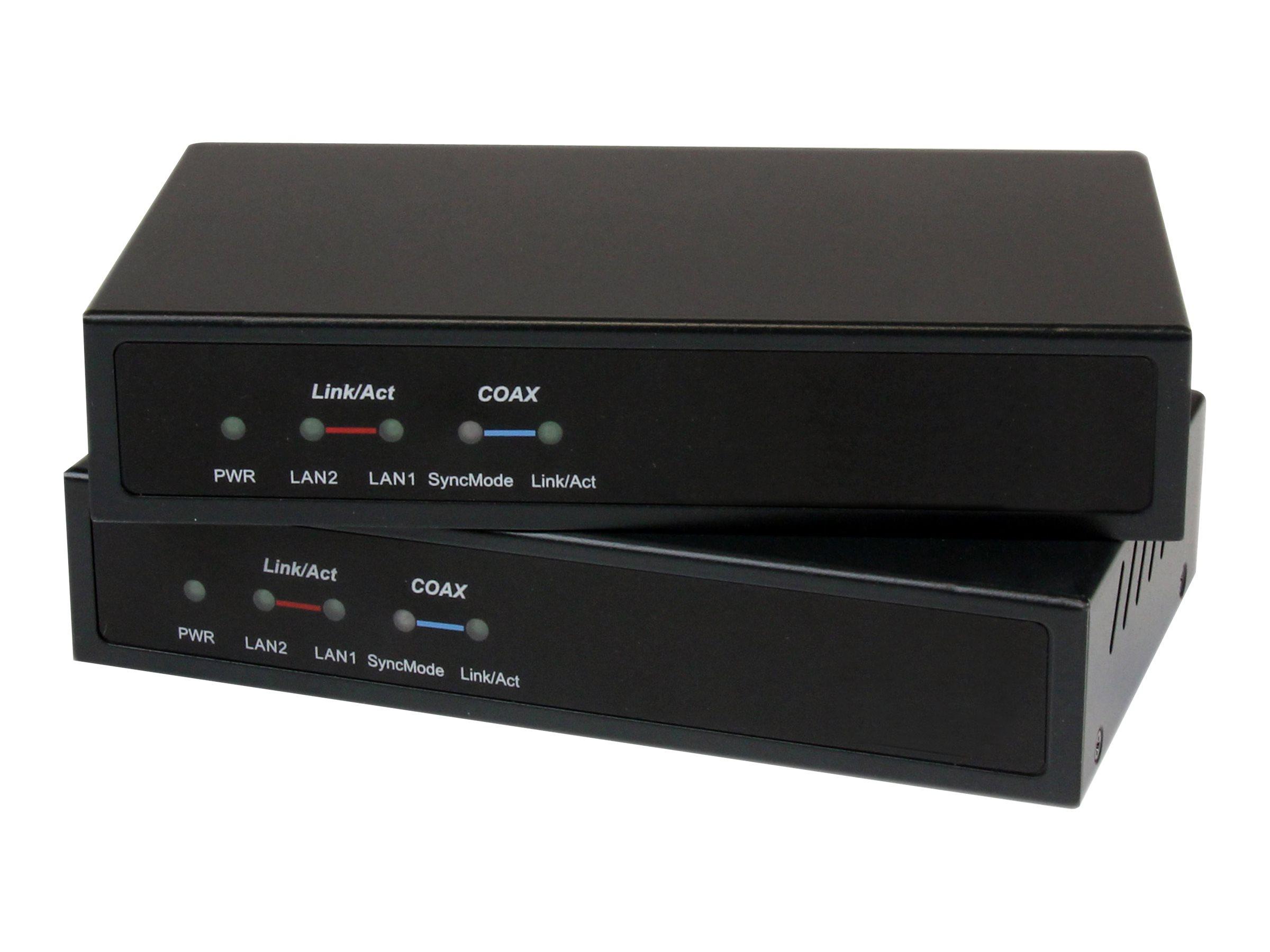 StarTech.com Gigabit Ethernet Extender unmanaged über Koaxialkabel 2.4km - LAN / Netzwerk über Antennenkabel - IP auf Koax Adapt