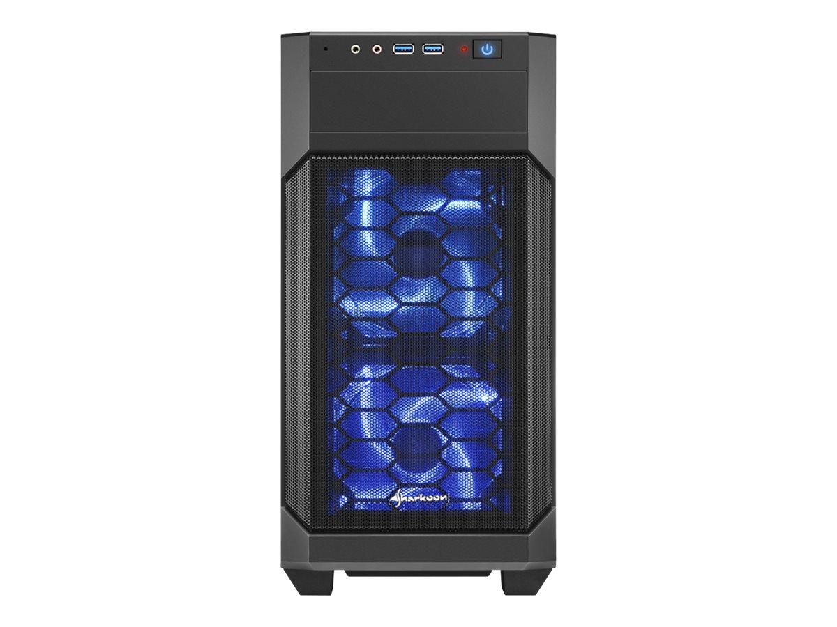 Sharkoon V1000 Window - Tower - micro ATX - ohne Netzteil - Schwarz - USB/Audio
