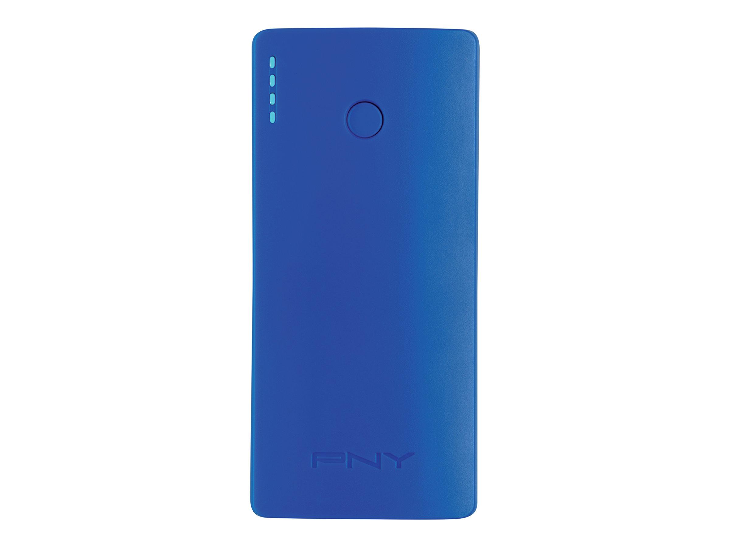 PNY PowerPack Curve 5200 - Powerbank - 5200 mAh - 2.1 A (USB) - auf Kabel: Micro-USB - Blau