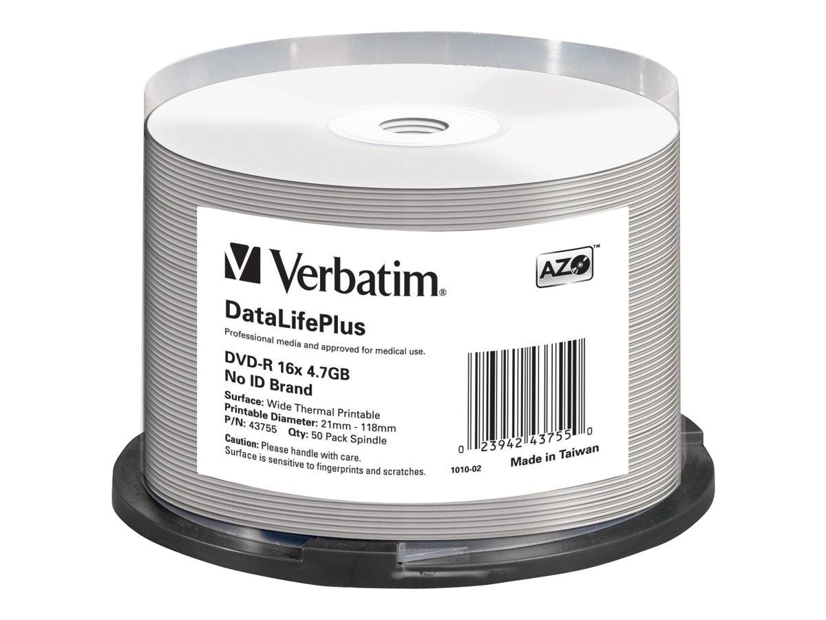 Verbatim DataLifePlus - 50 x DVD-R - 4.7 GB 16x - breite Thermodruckfläche - Spindel