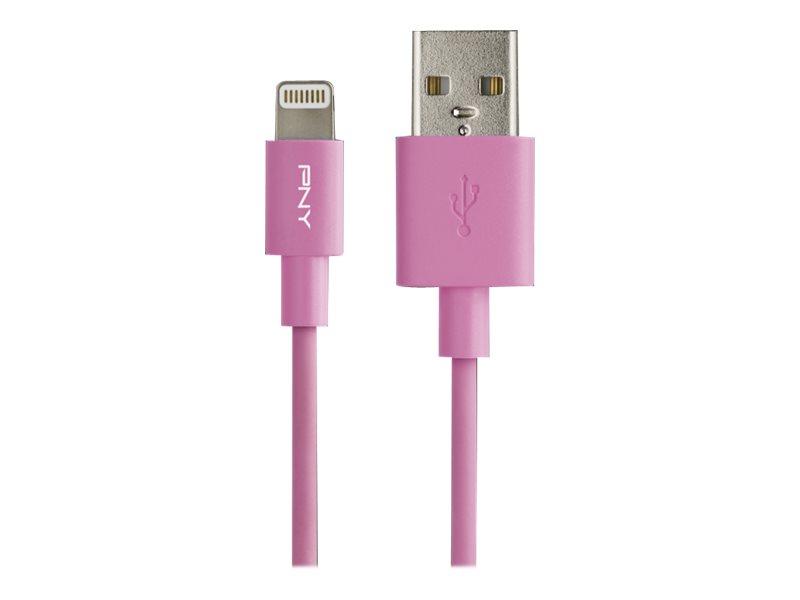 PNY Charge & Sync - Lightning-Kabel - USB (M) bis Lightning (M) - 1.2 m - pink - für Apple iPad/iPhone/iPod (Lightning)