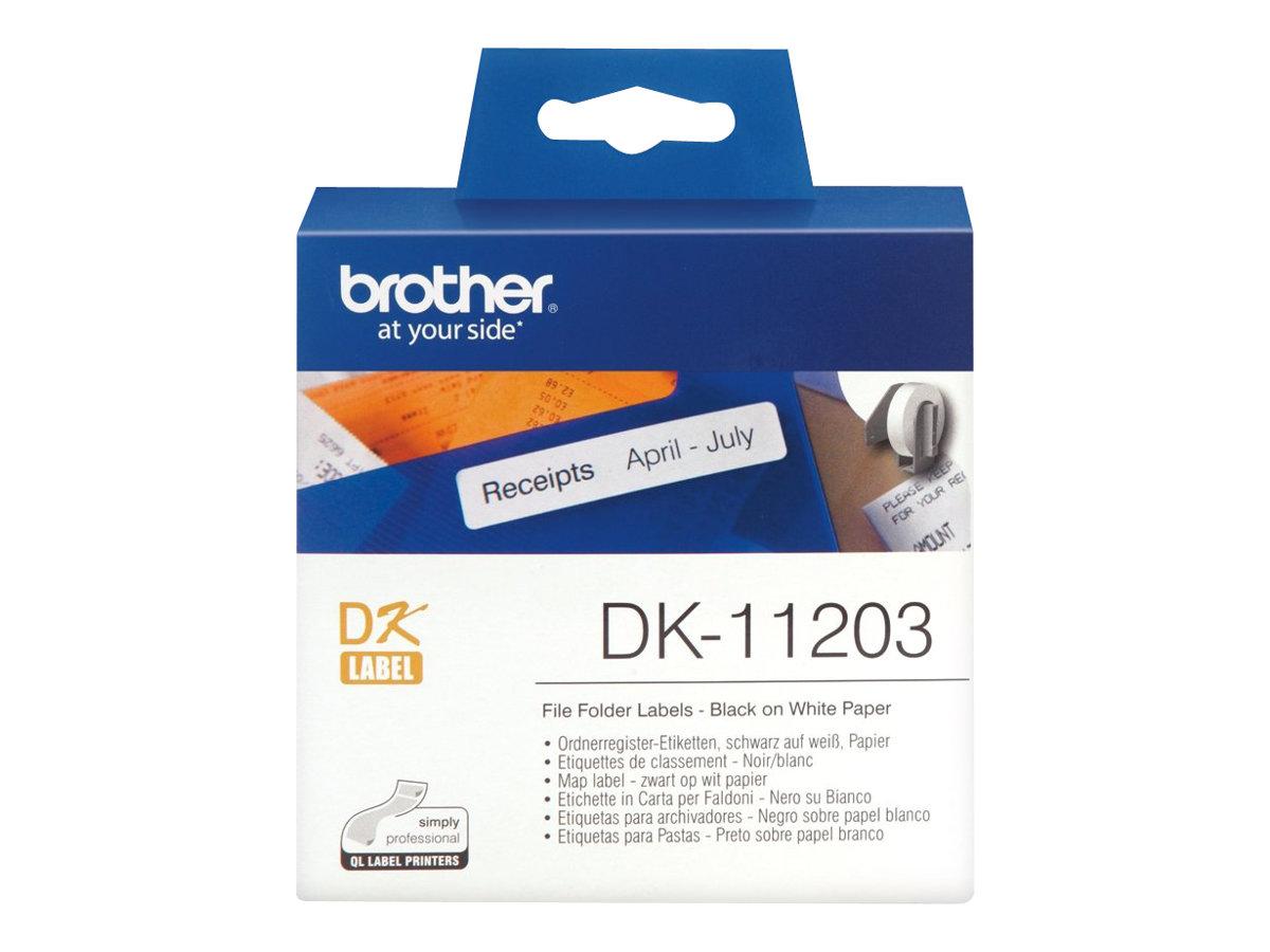 Brother DK-11203 - Schwarz auf Weiss - 17 x 87 mm 300 Etikett(en) (1 Rolle(n) x 300) Aktenetiketten - für Brother QL-1050, 1060,