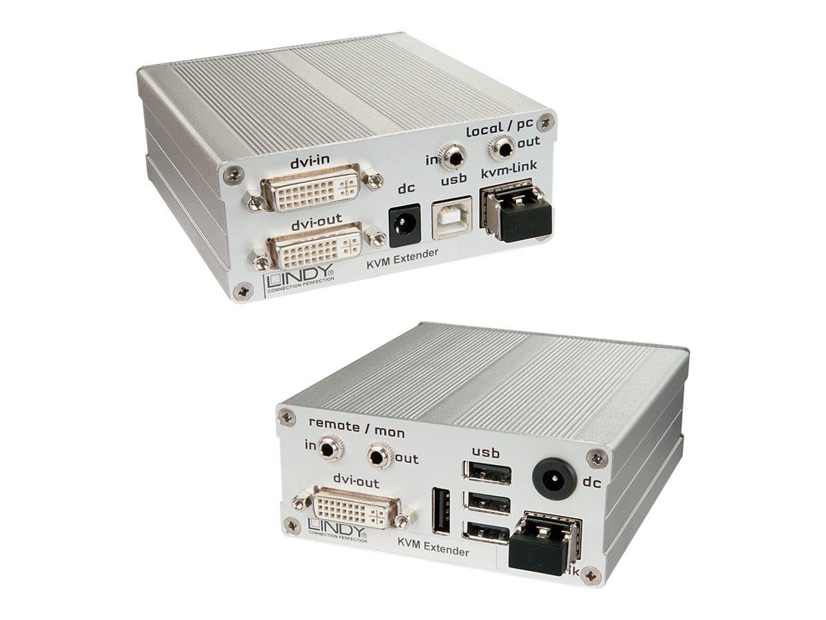 LINDY Fiber Optic KVM Extender DVI-D & USB 2.0 Receiver and Transmitter - KVM-/USB-Extender - USB - bis zu 500 m