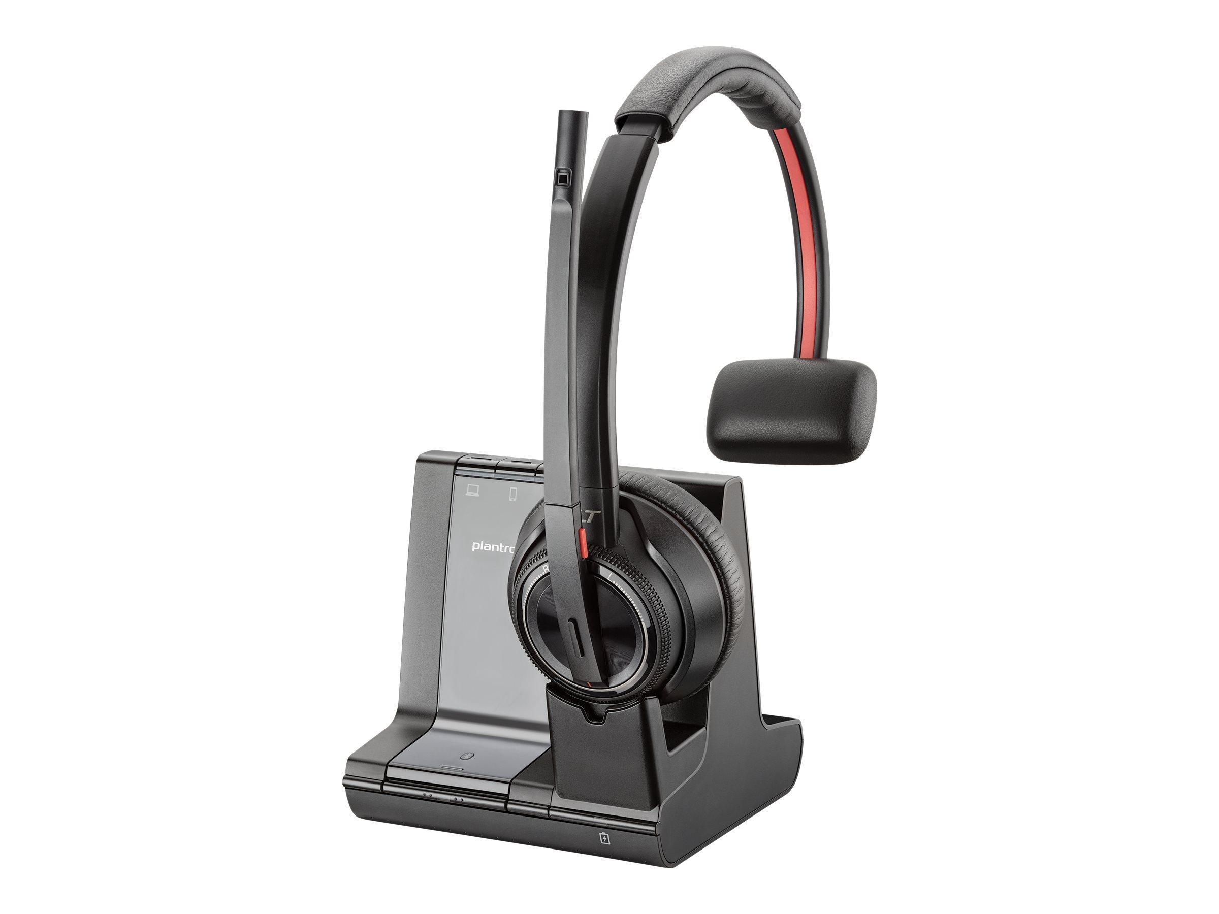 Plantronics Savi 8200 Series W8210 - Headset - On-Ear - DECT 6.0 / Bluetooth - kabellos - aktive Rauschunterdrückung