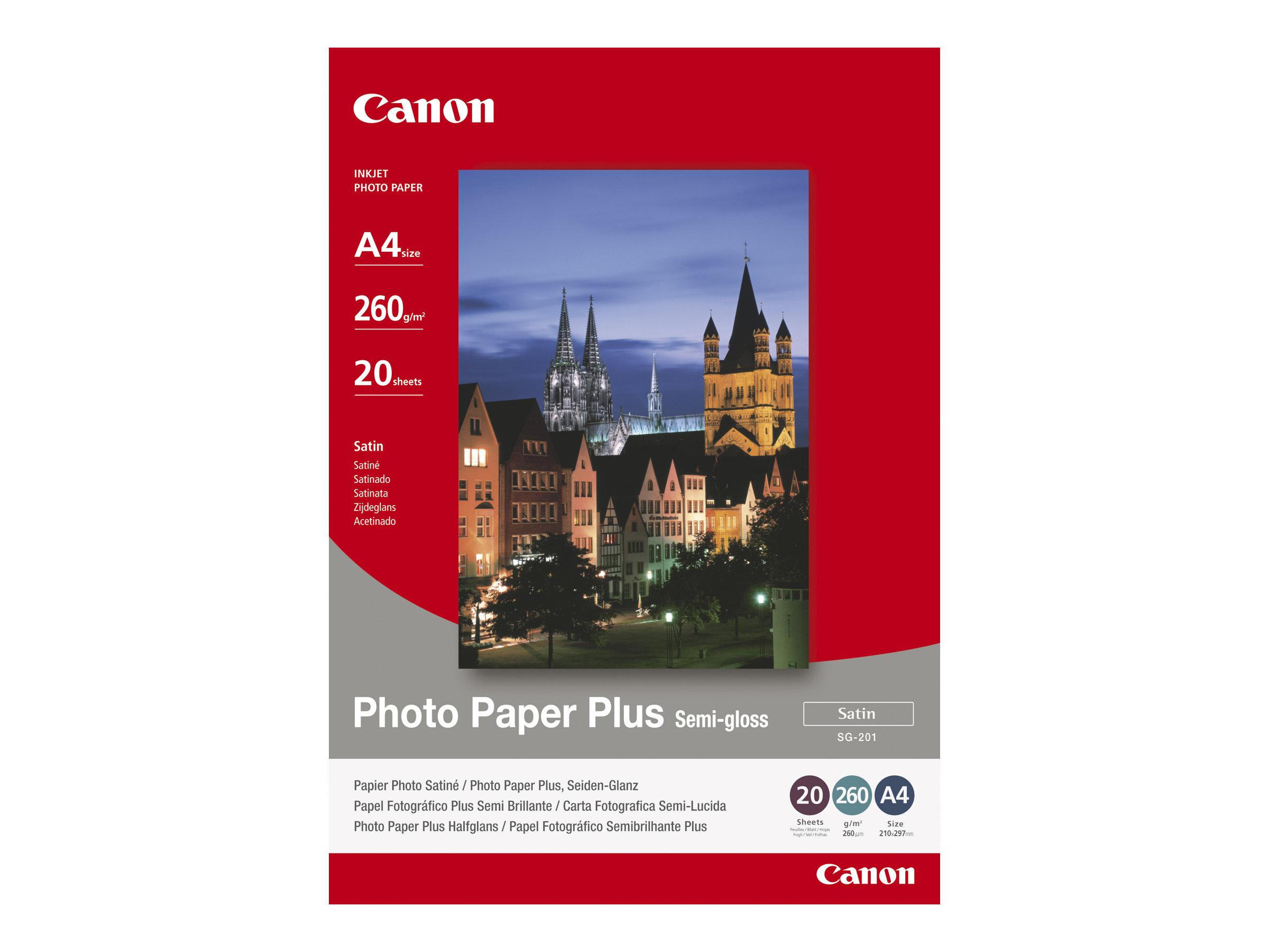 Canon Photo Paper Plus SG-201 - Halbglänzend - 203 x 254 mm - 260 g/m² - 20 Blatt Fotopapier - für PIXMA iP3300, iP4300, iP5300,