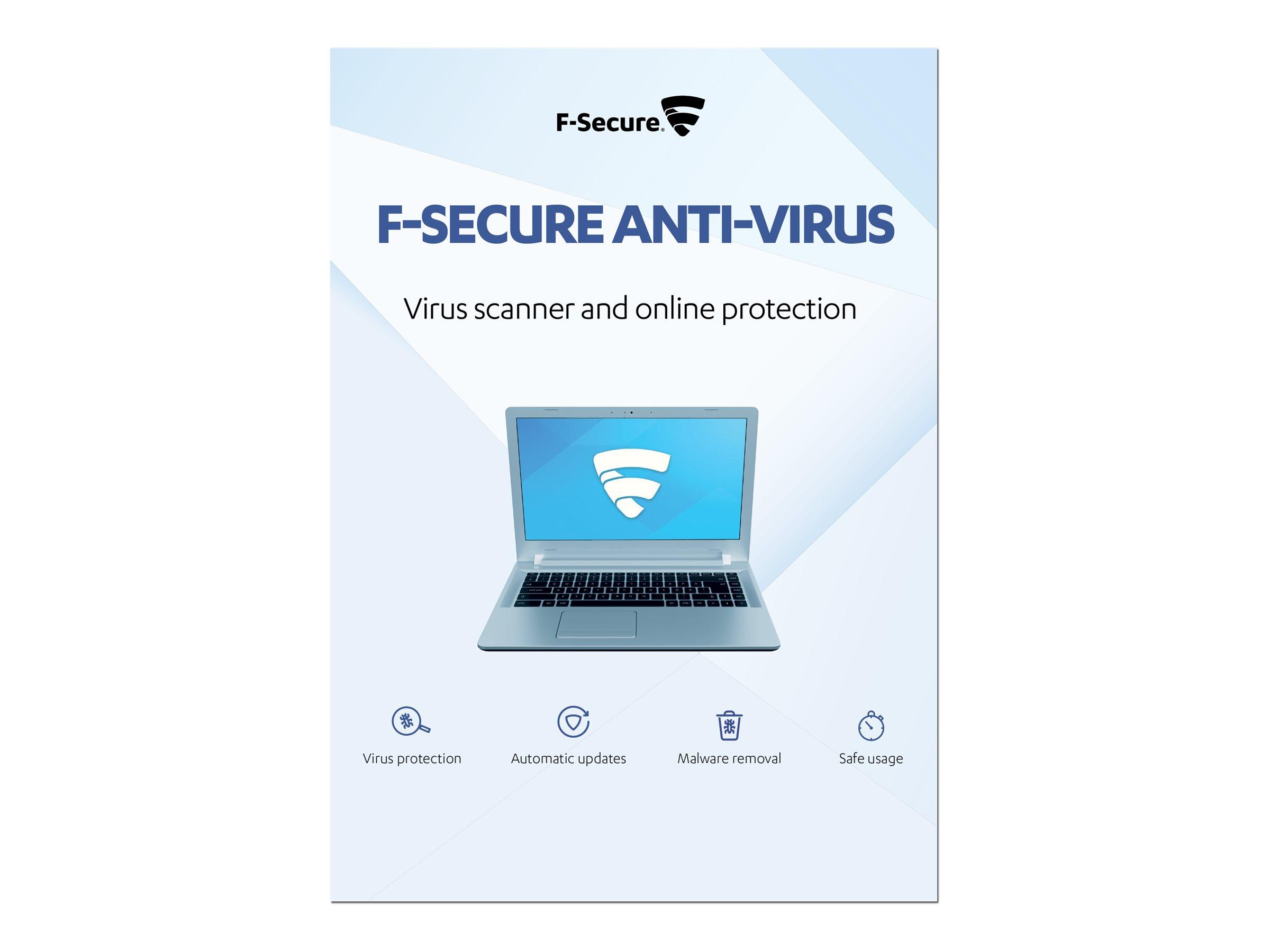 F-Secure Anti-Virus - Abonnement-Upgrade-Lizenz (1 Jahr) - 5 PCs - ESD - Win - Multilingual
