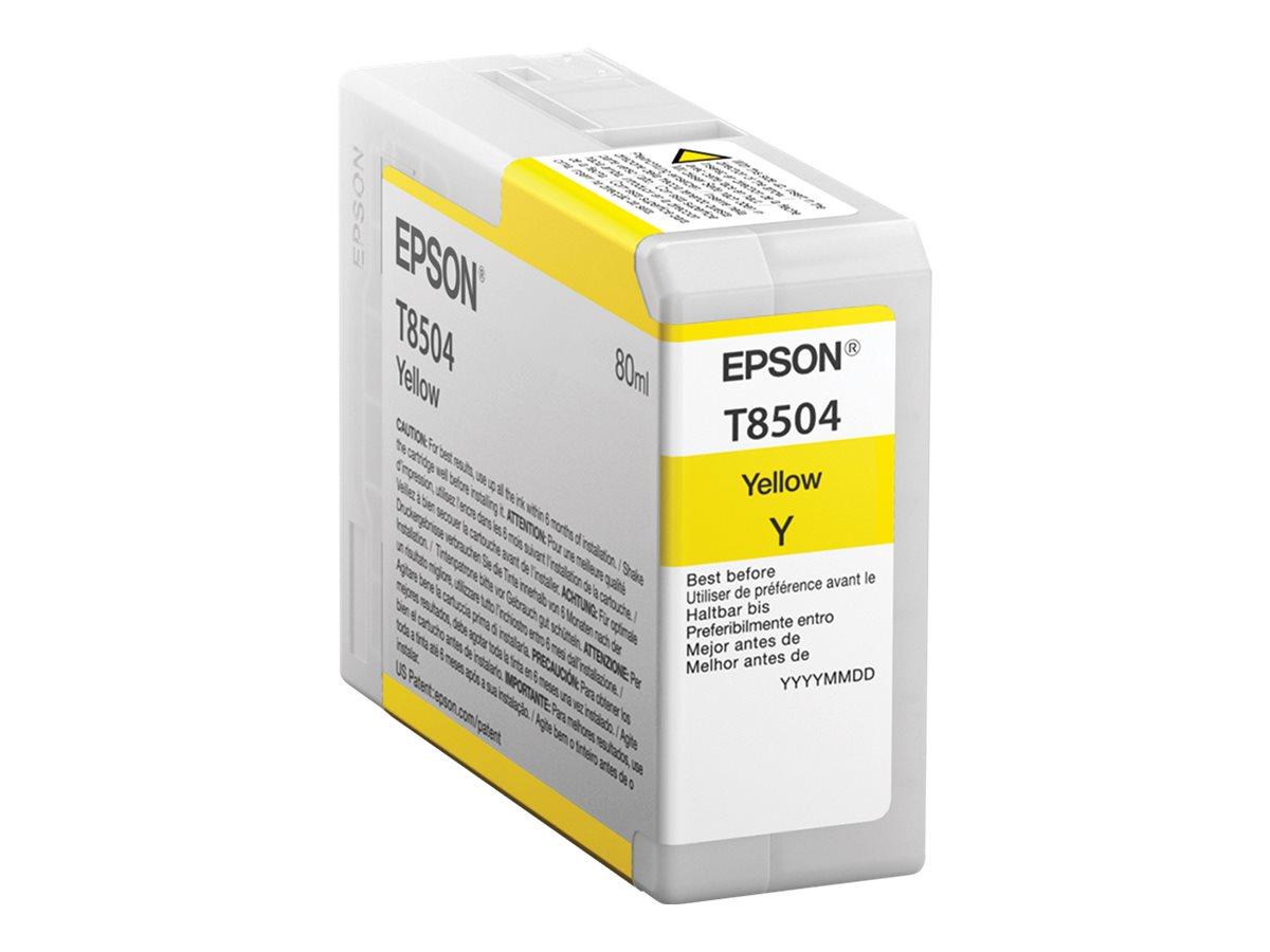 Epson T8504 - 80 ml - Gelb - Original - Tintenpatrone - für SureColor P800, P800 Designer Edition, SC-P800