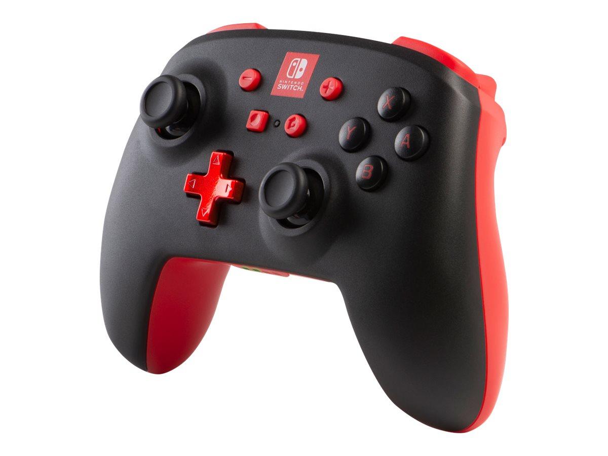PowerA Enhanced Wireless Controller - Game Pad - kabellos - Bluetooth - Schwarz mit roten Akzenten - für Nintendo Switch