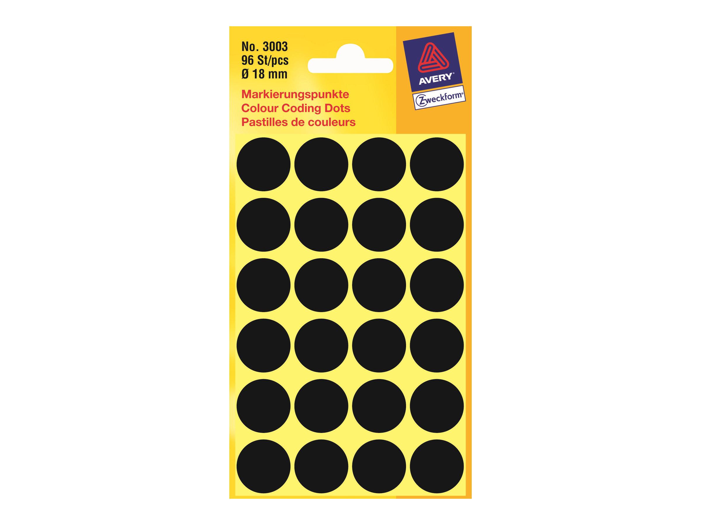 Avery Zweckform - Farbkodierungspunkt - 1,8 cm Durchmesser - nicht magnetisch - Schwarz (Packung mit 96)
