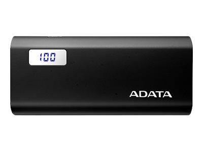 ADATA P12500D - Powerbank - 12500 mAh - 2.1 A - 2 Ausgabeanschlussstellen (USB) - Schwarz