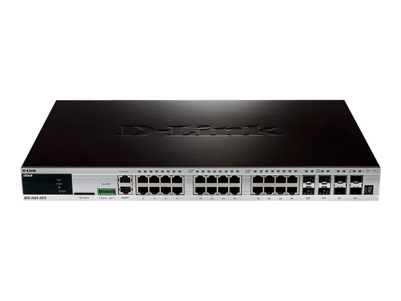 D-Link xStack DGS-3420-28TC - Switch - managed - 24 x 10/100/1000 + 4 x Kombi-Gigabit-SFP + 4 x 10 Gigabit SFP+ - an Rack montie