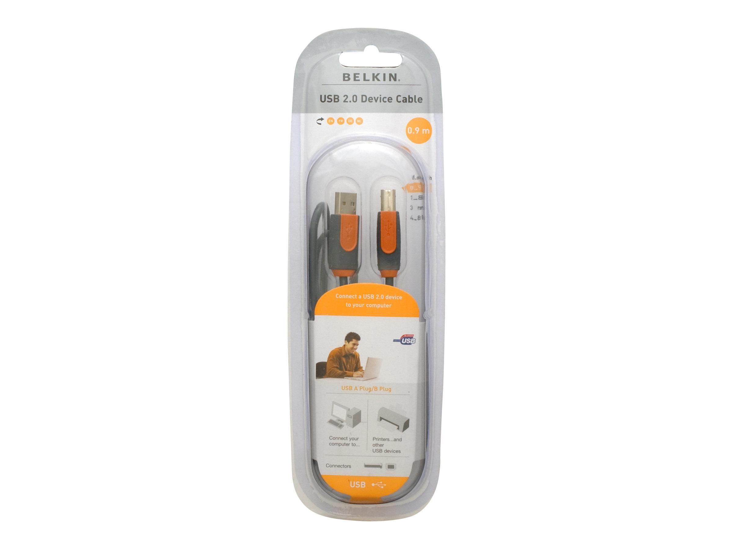 Belkin PRO Series Hi-Speed USB 2.0 Device Cable - USB-Kabel - USB (M) bis USB Typ B (M) - USB 2.0 - 90 cm - geformt