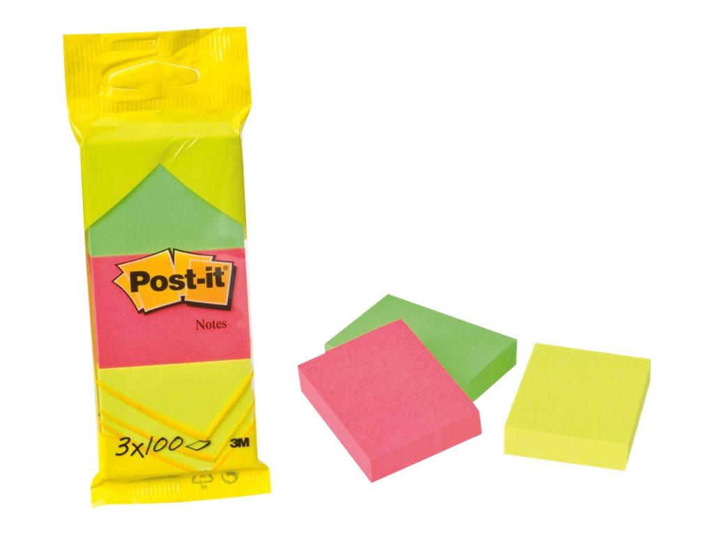 Post-it 6812N - Notizen - 38 x 51 mm - 300 Blatt (3 x 100) - Neongrün, neongelb, Neon-Pink