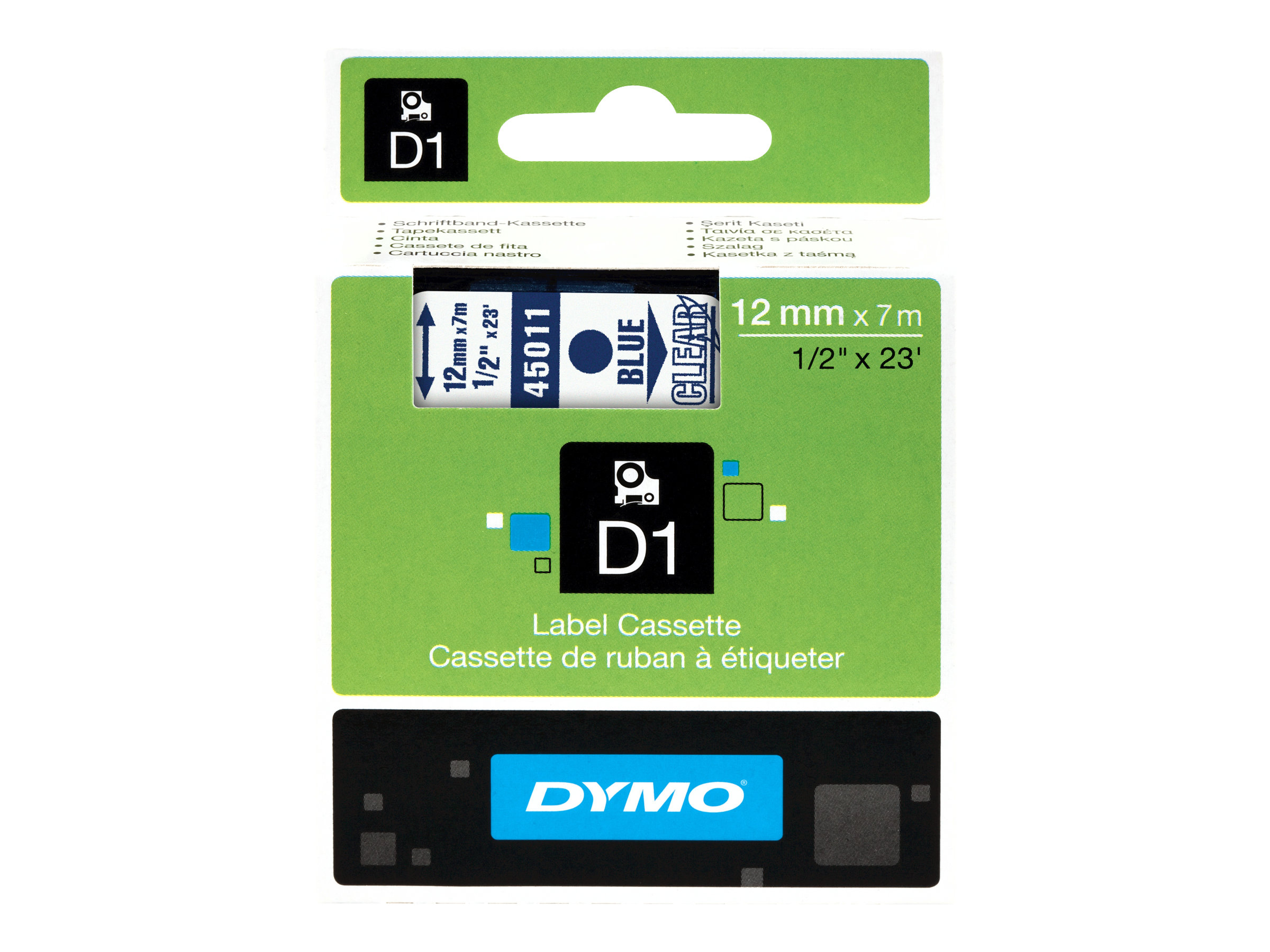 DYMO D1 - Selbstklebend - Blue On Transparent - Rolle (1,2 cm x 7 m) 1 Rolle(n) Etikettenband - für LabelMANAGER 150, 350, 350D,