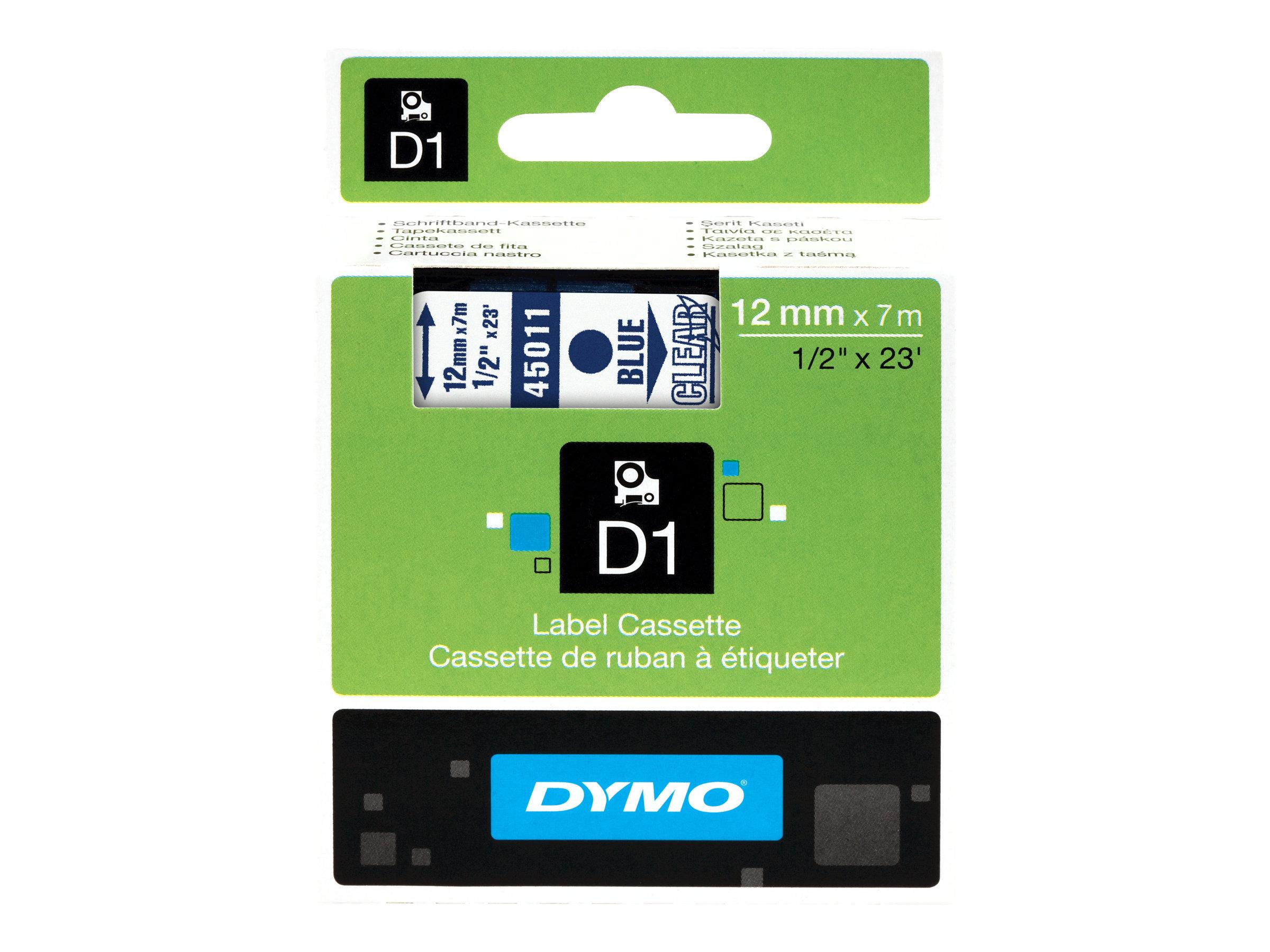 DYMO D1 - Selbstklebend - Blue On TranErsatzteilnt - Rolle (1,2 cm x 7 m) 1 Rolle(n) Etikettenband - für LabelMANAGER 150, 350,