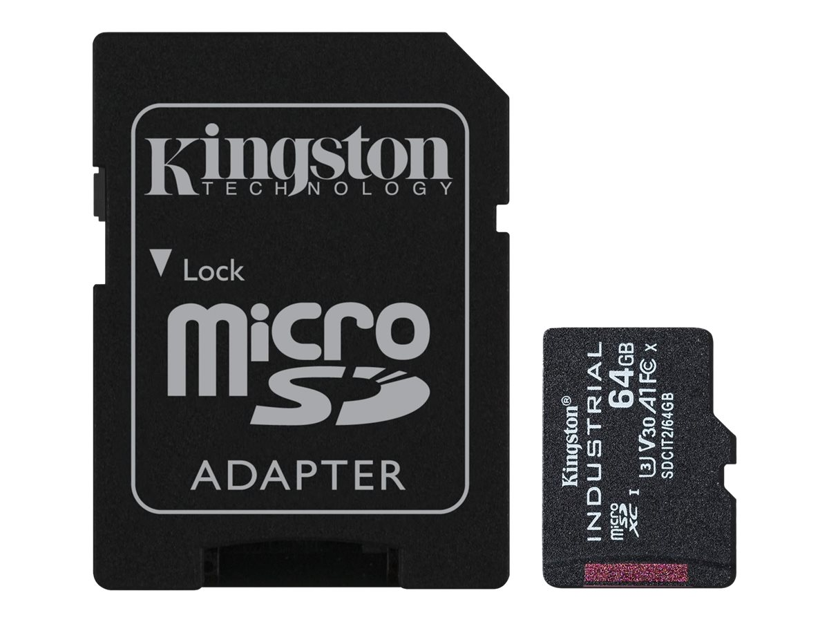 Kingston Industrial - Flash-Speicherkarte (microSDXC-an-SD-Adapter inbegriffen) - 64 GB - A1 / Video Class V30 / UHS-I U3 / Clas